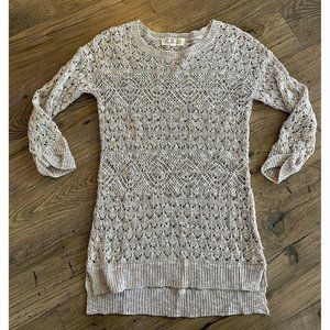 PINK ROSE Open Knit Crochet Oatmeal Tunic Sweater